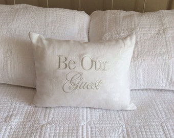 Decorative pillow cover-Be Our Guest-guest room, bed and breakfast, upcycled linens