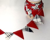 Red and Navy Blue Plaid fabric Cake Mini Bunting. Wooden Spool of Ribbon for gift wrapping and invitations.