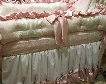 Custom Crib  luxury Pink and Grey Bedding set Modern color options