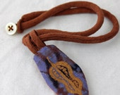 Fabric necklace, soft jewelry, copper seedpod necklace, rust and purple,  fiber art necklace, hand dyed, screenprinted hemp silk, linen