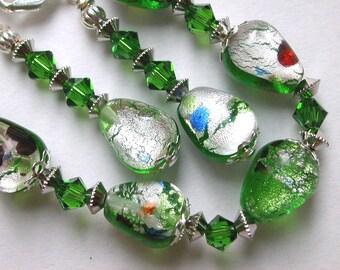 Silver Green Bracelet and Earring Set, Green Silver Foil Millefiori Bracelet