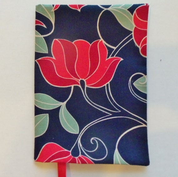 Paperback Book Cover Material : Fabric paperback book cover red flower navy