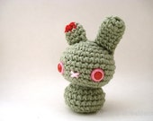 Zombie Moon Bun - Undead Amigurumi Bunny Rabbit with Keychain or Ornament Options - Choose Your Own Color