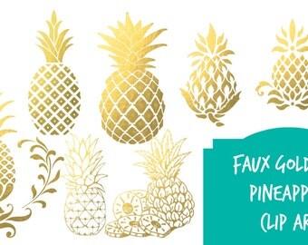 Digital clip art | Gold foil pineapples - Instant download digital clip art - Pineapples - faux gold foil  digital metallic gold pineapple