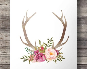 Printable art | Watercolor Antlers and flowers print  |  Printable Antlers wall art | Valentine gift digital print