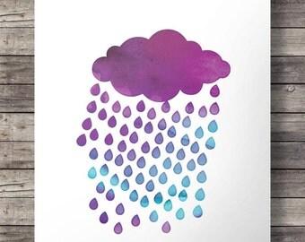 Watercolor rain cloud weather print  - Printable wall art - digital print
