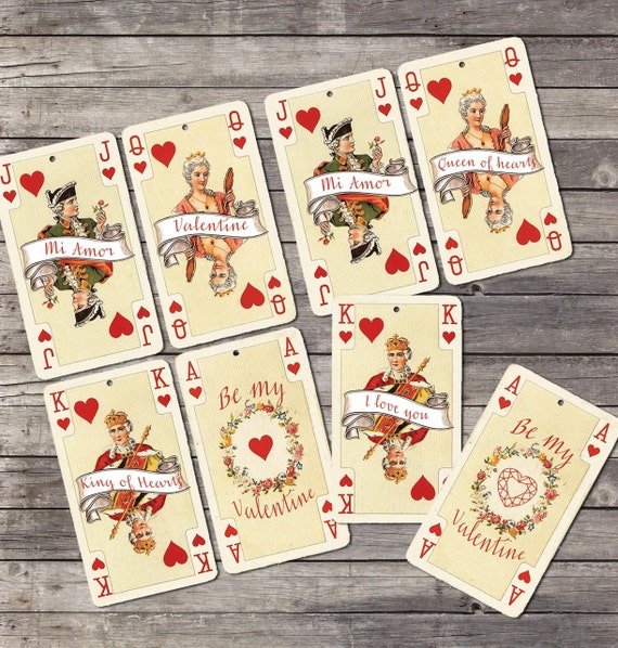 Valentine Vintage playing cards gift tags Printable digital – Valentines Playing Cards