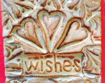Three (hearts) wishes handmade earthenware tile