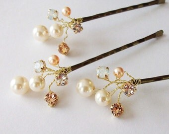 Wedding Hair Accessories,Choice of White or Cream Pearls and Swarovski Elements, Pearl Hair Clips, Peach and Cream Weddings, Hair Piece