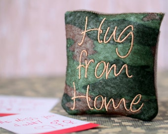 Hug From Home - Small Pocket Pillow for Deployment, Long Distance Relationships or Care Packages