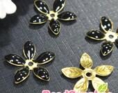 FG-EX-08001BL- Nickel Free, Lead Free, Color epoxy, 5-leaf beads cap, black, 6 pcs