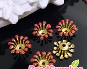 FG-EX-08003CR- Nickel Free, Raw Brass, Flower bud beadcap, coral red, 12pcs