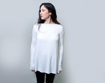 Boatneck Tunic Shirt • Ultra Long Sleeves • Raw Edge Hem • Loose Blouse • Women • Loft415 • Loft 415 Clothing (No. 217)