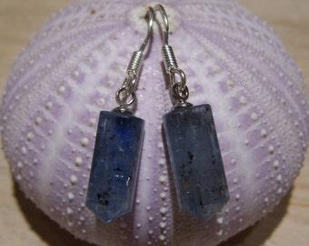 Kyanite crystal point briolette, sterling silver earwire,  earrings