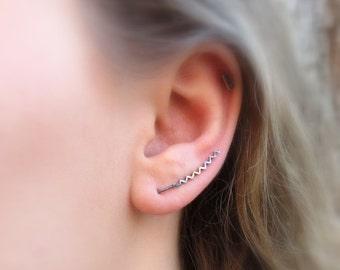 Sterling Silver Ear Climber Earrings as Seen on NCIS New Orleans! Zig zag earrings Ear sweeps or dangle earrings