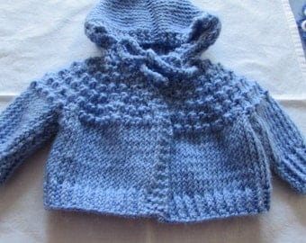 Blue Hand Knit Baby Sweater With Hood and Ties