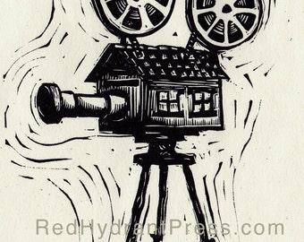 Cinema, cinematography camera house print