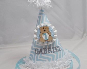 Boy Teddy Bear 1st Birthday Party Hat- Personalized