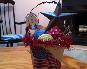 Fourth of July Patriotic Americana peat pot arrangement