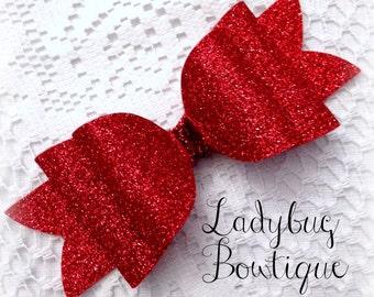 Wool Felt Glitter Large Oversized Hair Bow ~ Sparkle ~ Red ~ Headband Clip or Barrette ~ Custom Choice ~ Christmas or Valentine's Day ~