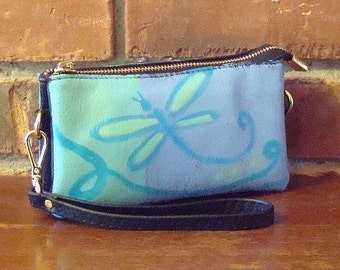 Hand Painted Wristlet Clutch Purse Small Handbag Funky Abstract Dragonfly Painting