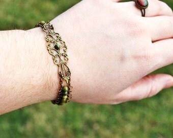 Unakite and Antiqued Bronze Filigree Bracelet