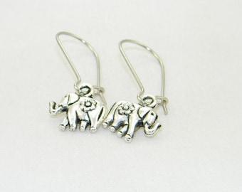 Antique silver cute elephant charm dangle earrings, Animal, Zoo, African, Jewelry