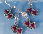 Two Hearts Love Time Lord Red Heart Charms European Slide On Bead, Clip On, Belly Ring or Earrings