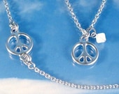 Peace Sign Necklace Silver Charms Symbol Stainless Steel or Sterling Silver Chain