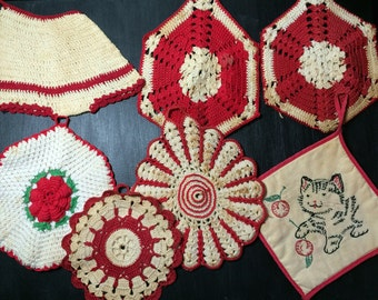 7 Vintage Red and White Crochet Kitsch Kitchen Pot Holders Trivets Doiley Kitten Cherries