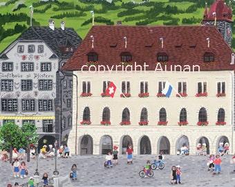 Lucerne #1 Art Print Switzerland, Lucerne Painting, Switzerland Painting