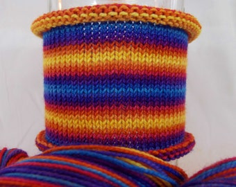 My Rainbow Can Beat Up Your Honor Student: DK weight, hand-dyed gradient self-striping yarn, 100% SW merino