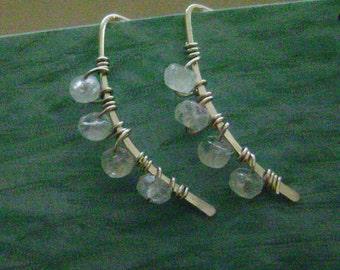 Rainbow Moonstone Wishbone Earrings, sterling silver, faceted, white, clear, moon, open, hoops, semiprecious, rustic, feminine, minimalist