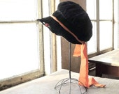 Black Velvet Cloche Bonnet Hat With Orange Grosgrain Ribbon Rosettes