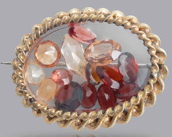 Payment #3 - Antique Victorian Glass Brooch Filled with Floating Gemstones - Rare Garnet, Topaz, and Citrine
