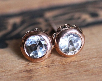 14k rose gold stud earrings, rose gold earrings, white topaz studs, luxury jewelry gift for her, rose gold jewelry, Wrought ready to ship