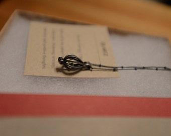 Nickel Teardrop Necklace with Quartz Stone - SALE 40% Off