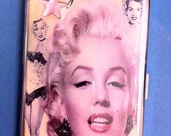 Marilyn Monroe Blonde Mirror Tissue Cigarette Case Business Credit Card Money Holder