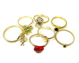 Vintage Mix of Plated Fashion Rings (8x) (J512)