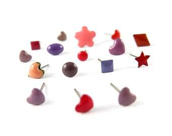 Random Assortment of Red, Purple, Pink, Orange and Other Similar Hues - Enamel Stud Earrings (8 Pairs) (J530)