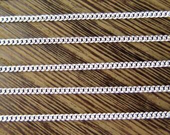 Two Tone White Enamel on Brass Curb Chain - (4 feet) (C901)