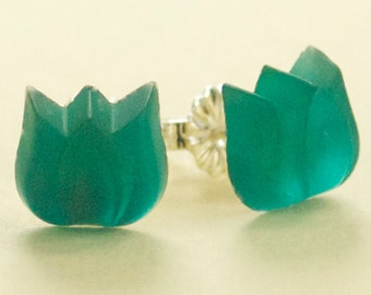 Small Vintage Frosted Teal Green Glass Tulip Button Post Earrings