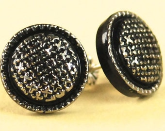 Vintage Silver and Black Swirl Czech Glass Post Earrings - Limited