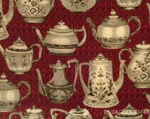 1 Yard - Afternoon Tea by Ro Gregg Fabric, Cotton Fabric, Quilting Fabric, Teapot Fabric