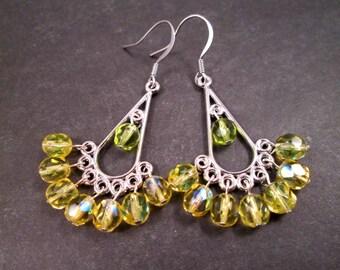Chandelier Earrings, Lemongrass Yellow and Green, Silver Dangle Earrings, FREE Shipping U.S.