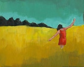 Original acrylic painting figurative contemporary modern art women girl girlfriend landscape colourful yellow red - Happiness