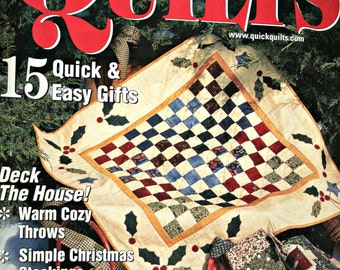 Quilting Patterns Last Minute Holiday Ideas Quick Quilts Magazine Vintage Paper Original NOT a PDF Christmas Stocking Tree Skirt