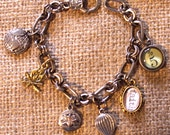 Charm Bracelet Fifth Element Classical Elements Alchemy Elements Faith, Five,water lily, fire, earth,air balloon,mustard seed,5,faith