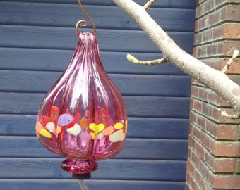 NEW COLOR ! Hummingbird Feeder - Pink Ruby Blown Glass