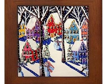 Magical Snowmen 3 Fun Colorful Whimsical Folk Art Framed Ceramic Tile